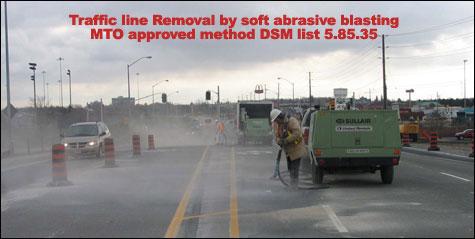 Soda blasting,highway line removal, road line removal